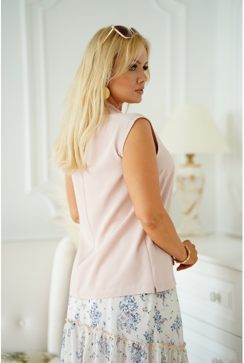 szyfonowa bluzka plus size z wiązaniem na dekolcie - DEBBIE
