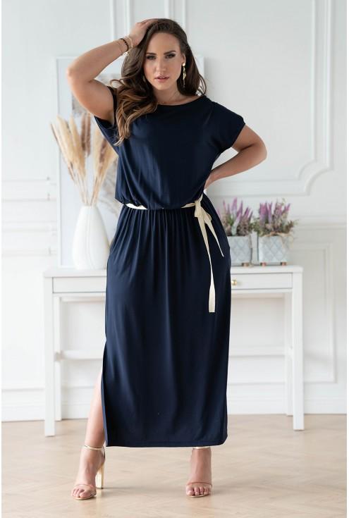 Granatowa sukienka 7/8 z wiązaniem w pasie xxl