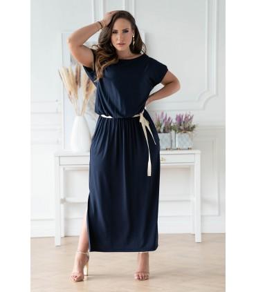 Granatowa sukienka 7/8 z wiązaniem w pasie - Francesca