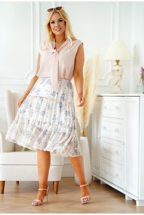 Beżowa spódnica plus size z falbanami z kwiatowym wzorem