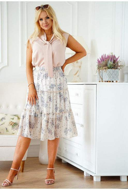 Beżowa spódnica w kwiatowy wzór z falbanami xxl