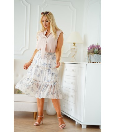 Beżowa spódnica z falbanami z kwiatowym wzorem - Maren