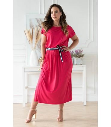 Fuksja sukienka 7/8 z wiązaniem w pasie - Francesca
