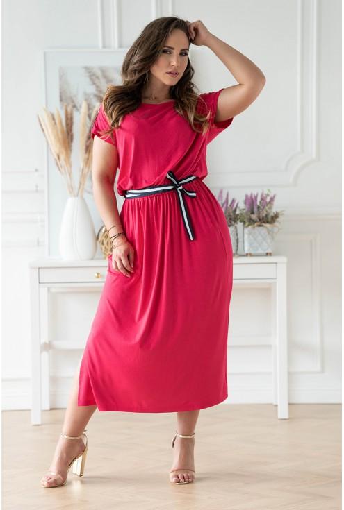 Fuksjowa sukienka z wiązaniem w pasie plus size