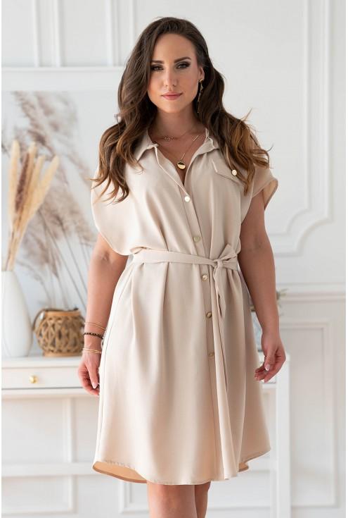 Beżowa sukienka z guzikami i wiązaniem w pasie xxl