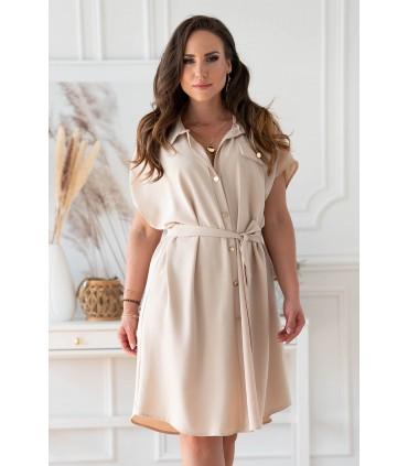 Beżowa sukienka z guzikami i wiązaniem w pasie - Madalena