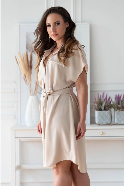 Beżowa sukienka z guzikami i wiązaniem w pasie w dużych rozmiarach