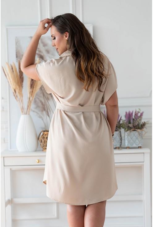 Tył pięknej beżowej sukienki plus size xxl w XL-ka.pl