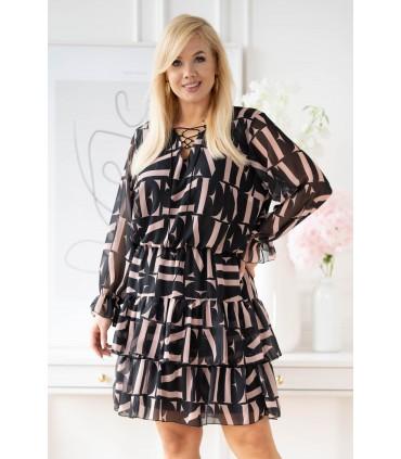 Czarna sukienka w beżowe litery z falbanami - LITIA