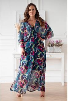 Zwiewna niebieska sukienka z kolorowym wzorem w kółka xxl