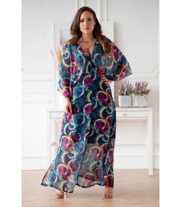 Zwiewna, niebieska sukienka z kolorowym wzorem w kółka - Laia