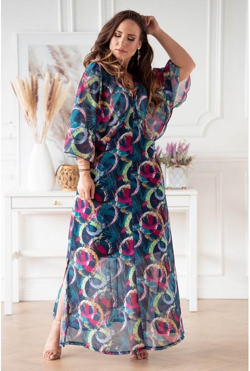 Zwiewna, niebieska sukienka z kolorowym wzorem w kółka plus size