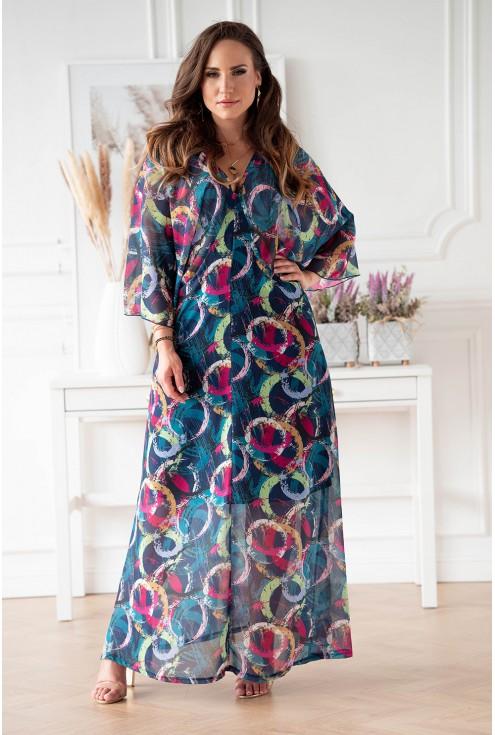 Sukienka w dużych rozmiarach w kolorowe kółka w niebieskim kolorze duże rozmiary