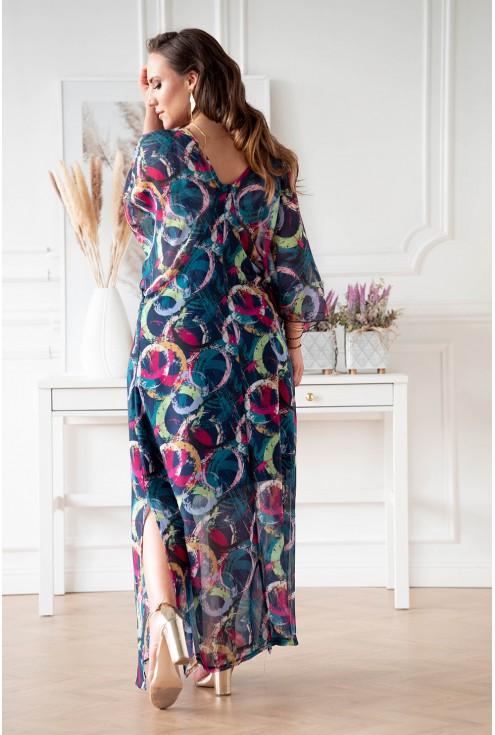Tył niebieskiej sukienki z kolorowym wzorem w kółka xxxl duży rozmiar