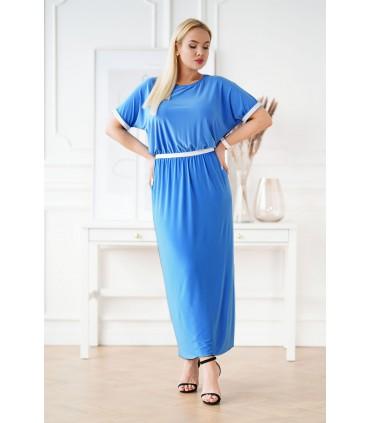 Niebieska długa sukienka ze srebrnymi taśmami - CLEMENTINE