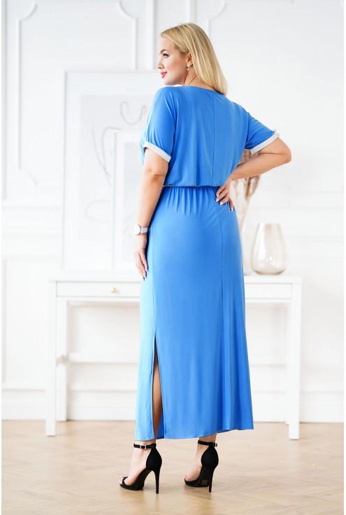 Niebieska długa sukienka ze srebrnymi taśmami xxl
