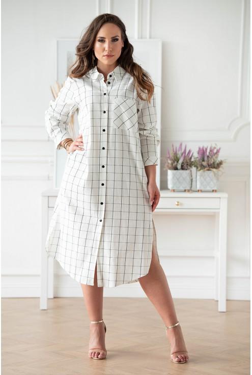 Wygodna lniana sukienka koszulowa w XL-ka.pl