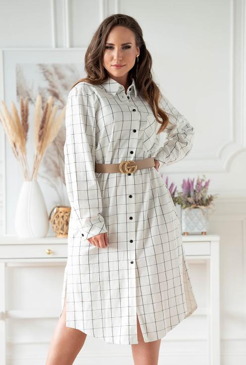 Biało-czarna sukienka koszulowa w kratkę xxl