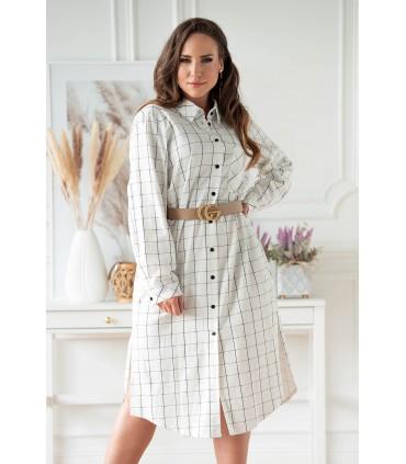Biało-czarna lniana sukienka koszulowa w kratkę - Graciana
