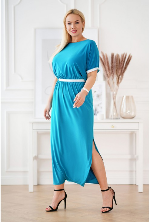 Turkusowa długa sukienka ze srebrnymi taśmami - CLEMENTINE