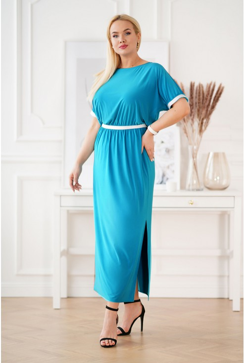 Turkusowa długa sukienka ze srebrnymi taśmami xxl