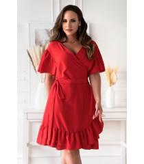 Czerwona kopertowa sukienka plus size - Celeste