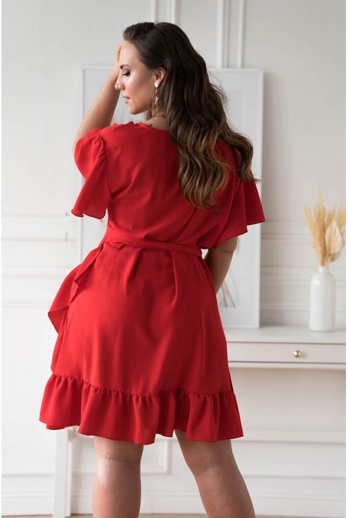 Tył czerwonej sukienki w dużych rozmiarach w XL-ka.pl