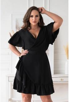 Czarna kopertowa sukienka z wiązaniem w pasie xxl