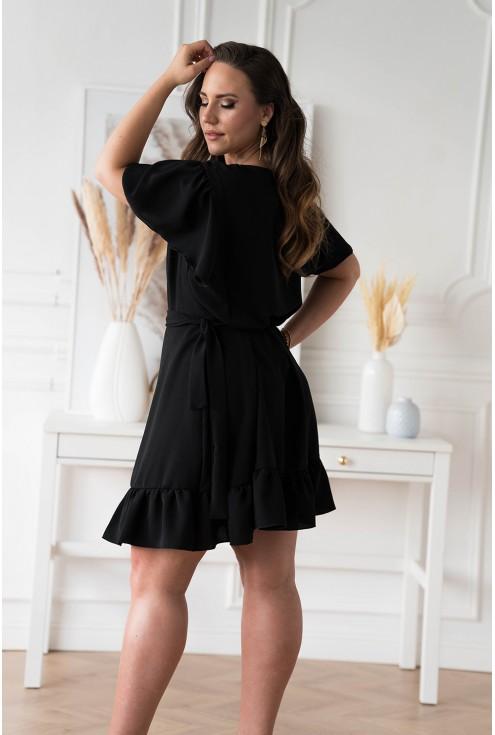 Czarna kopertowa sukienka z wiązaniem w pasie duże rozmiary dla kobiet plus size