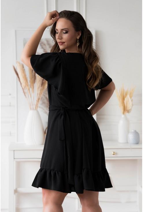 Czarna kopertowa sukienka z wiązaniem w pasie dla kobiet xxl