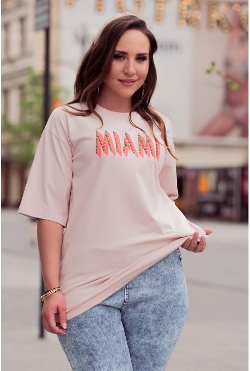 Pudrowa bluzka w dużym rozmiarze xxl