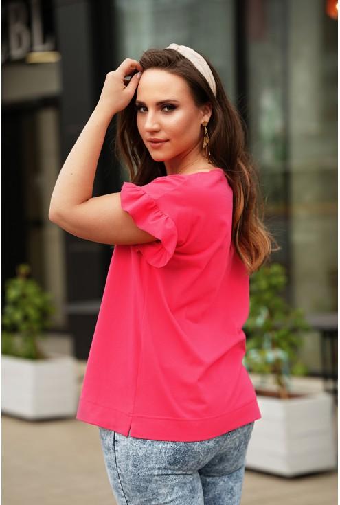 Bok różowej bluzki z falbanką xxxl