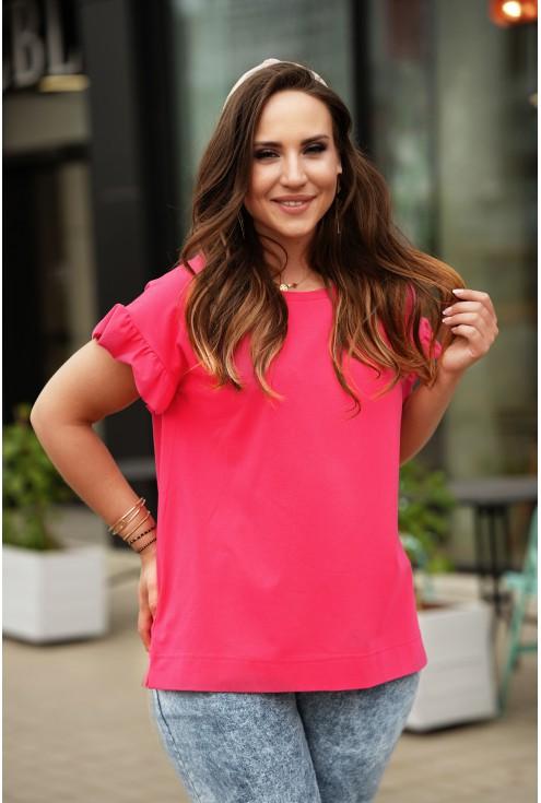 Różowa bluzka z falbaną na rękawach xxl