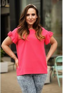 Różowa bluzka z falbaną na rękawach plus size dla kobiet xxl