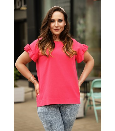 Różowa bluzka z falbaną na rękawach - Ferri