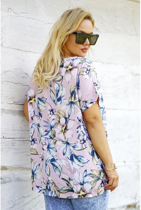 Pudrowa bluzka plus size w kwiaty - xxl