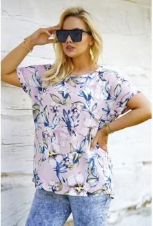 Pudrowa bluzka plus size w kwiatowy wzór - Molena