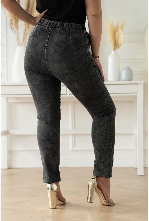 szare elastyczne spodnie z imitacji jeansu