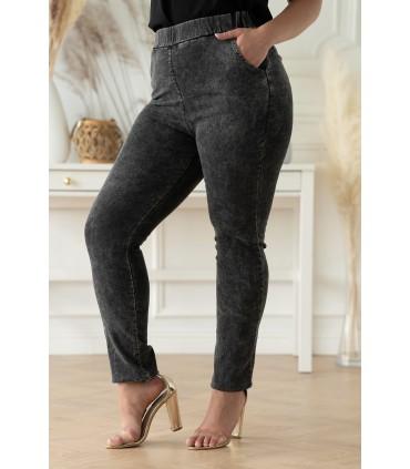 Szare elastyczne spodnie plus size z imitacji jeansu - Thira