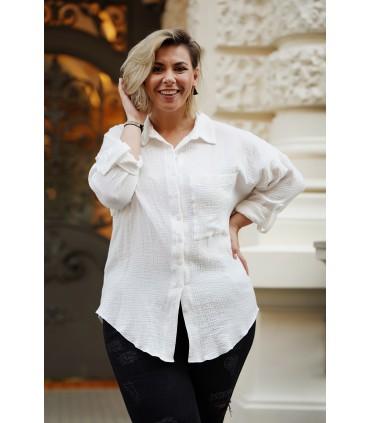 Biała muślinowa letnia koszula plus size - Sellia