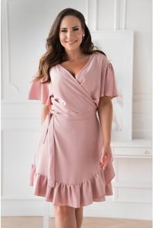 pudrowa kopertowa sukienka Celeste