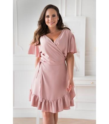 Pudrowa kopertowa sukienka z wiązaniem w pasie - Celeste