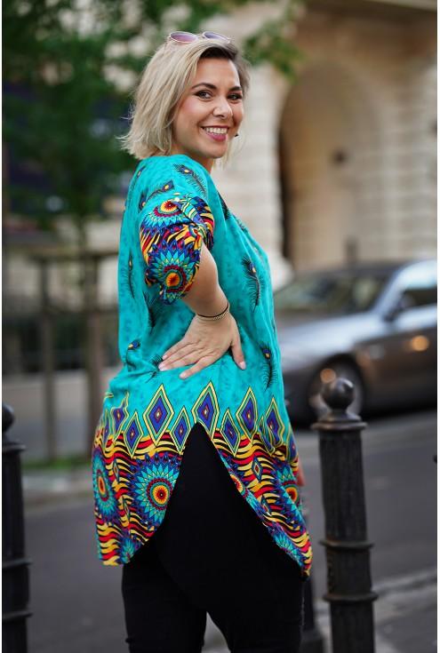 luźna tunika XXL w kolorze turkusowym