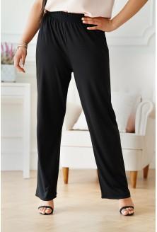 Czarne spodnie z szeroką nogawką z gumką w pasie - Santori