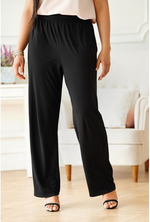 Czarne spodnie z szeroką nogawką xxl
