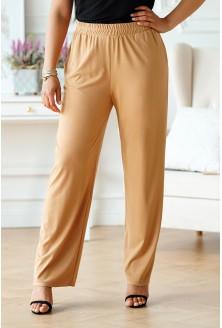 Beżowe spodnie z szeroką nogawką z gumką w pasie - Santori