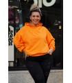 Pomarańczowa bluza z kapturem z kieszeniami - Monata