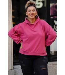 Ciemno-różowa bluza z kapturem z kieszeniami - Monata
