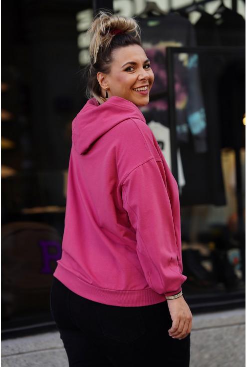różowa bluza oversize z kapturem