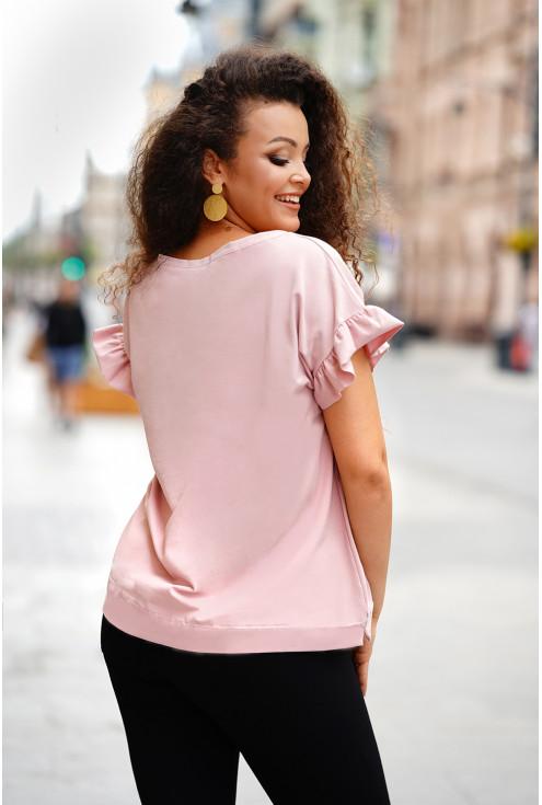 tył pudrowej bluzki plus size
